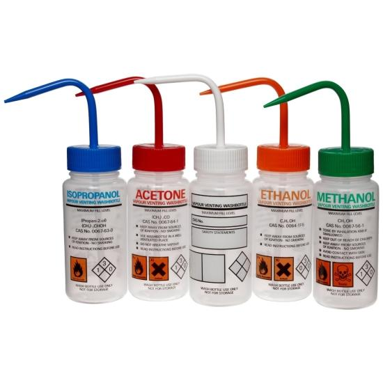 Case Of 5 Azlon 506475-0002 500mL Driplok Safety Vented Customizable Wash Bottles With Write On Labeling