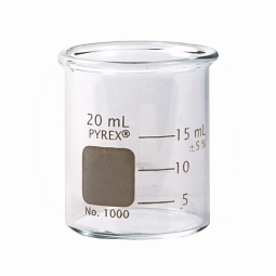 Corning® 1000-20 PYREX® 20mL Low Form Griffin Beaker, Double Scale, Graduated
