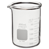 Corning® 1003-400 PYREX® 400mL Low Form Heavy Duty Griffin Beaker, Double Scale, Graduated