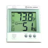 Control Company 4380 | Digital Hygrometer & Thermometer with Radio Signal Remote Sensor, Sensor Range: 65 to 100 Feet, RH Range: 25 to 90%, Temp Range: -4 to 140°F; -20 to 60°C, Dimensions: 4-1/4 x 4-1/2 x 3/4-Inch