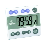 Control Company 5004 | Traceable® Jumbo Display Four-Channel Digital Timer with Stopwatch & Clock, Range: 100 Hours, Dimensions: 2-3/4 x 2-1/2 x 1/2-Inch