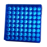 Bio Plas® 0082F | 64-Place Reversible Microcentrifuge Tube Rack for 1.5mL & 2.0mL Tubes, Fluorescent Blue