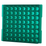 Bio Plas® 0083F | 64-Place Reversible Microcentrifuge Tube Rack for 1.5mL & 2.0mL Tubes, Fluorescent Green