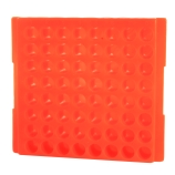 Bio Plas® 0084F | 64-Place Reversible Microcentrifuge Tube Rack for 1.5mL & 2.0mL Tubes, Fluorescent Orange