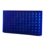 Bio Plas® 0092F | 96-Place Reversible Microcentrifuge Tube Rack for 1.5mL & 2.0mL Tubes, Fluorescent Blue