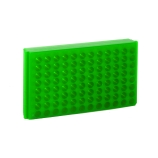 Bio Plas® 0093F | 96-Place Reversible Microcentrifuge Tube Rack for 1.5mL & 2.0mL Tubes, Fluorescent Green