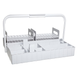 Bel-Art 186310715 The Collector™ Blood Collection Tube Rack & Tray with Handle, White Polypropylene, 80-Place