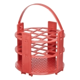 Bel-Art 187431016 No-Wire™ Round Test Tube Rack with Handle for 16mm Tubes, Red Polypropylene, 14-Place