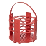 Bel-Art 187431020 No-Wire™ Round Test Tube Rack with Handle for 20mm Tubes, Red Polypropylene, 9-Place