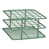 Bel-Art 187881300 POXYGRID® Half Size Epoxy Coated Wire Test Tube Rack 10 to 13mm Tubes, Green, 36-Place