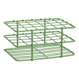 Bel-Art 187881600 POXYGRID® Half Size Epoxy Coated Wire Test Tube Rack 15 to 16mm Tubes, Green, 24-Place