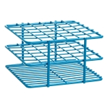 Bel-Art 187881301 POXYGRID® Half Size Epoxy Coated Wire Test Tube Rack 10 to 13mm Tubes, Blue, 36-Place