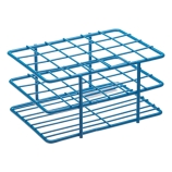 Bel-Art 187881601 POXYGRID® Half Size Epoxy Coated Wire Test Tube Rack 15 to 16mm Tubes, Blue, 24-Place