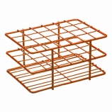 Bel-Art 187881603 POXYGRID® Half Size Epoxy Coated Wire Test Tube Rack 15 to 16mm Tubes, Orange, 24-Place
