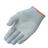 Protective Industrial Products 40-6411/S Cleanteam Knit Nylon ESD Nylon Gloves with White PVC Dot Grip, Size: Small (Orange Hem)