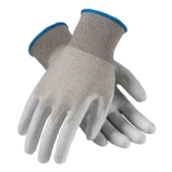 Protective Industrial Products 40-6415/L Cleanteam Knit Nylon ESD Nylon Gloves with White Polyurethane Smooth Grip, Size: Large (Blue Hem)