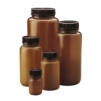 Nalgene® Wide-Mouth Round Packaging Bottles, Translucent Amber HDPE