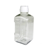 Nalgene® 2019-2000 Square Plastic Media Bottle, Graduated, Clear PETG with White HDPE Screw Cap, Sterile, 2000mL, Thermo Scientific