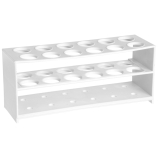 Kartell® 259885 Tiered 12-Well Test Tube Racks for 19mm Test Tubes, 3 Tiers, White HDPE