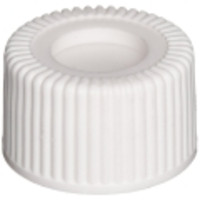 Wheaton® White Open Top Polypropylene Screw Caps with PTFE-Faced Silicone Septa