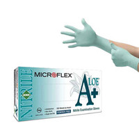 Ansell® Microflex® Green Nitrile Exam Gloves with Aloe Vera